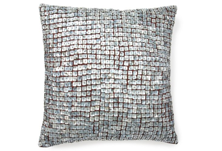 Sparkle 20x20 Pillow, Silvery Blue