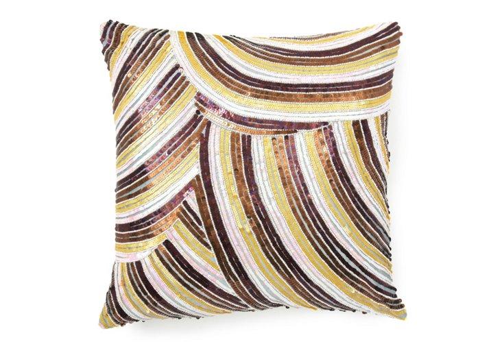 Retro Sparkle 20x20 Pillow, Gold/Brown
