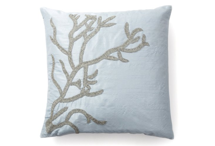 Reef 20x20 Pillow, Silver/Blue