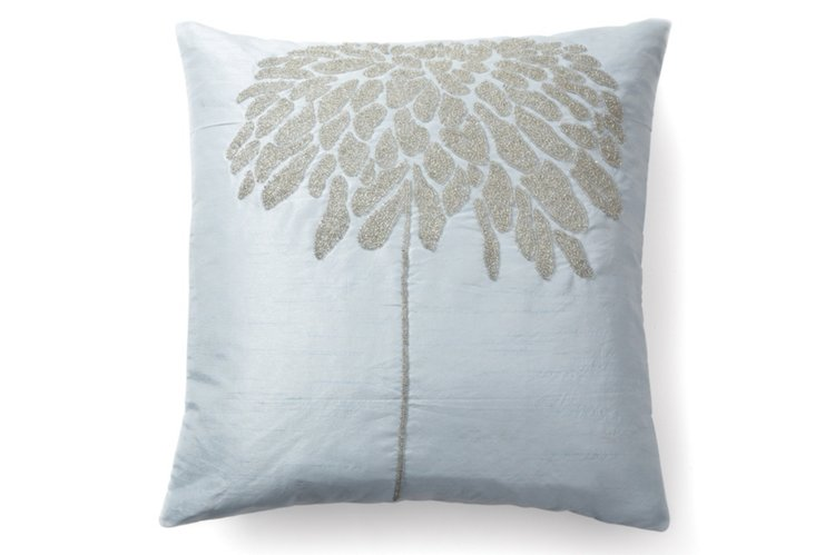 Coral Tree 20x20 Pillow, Silver/Blue