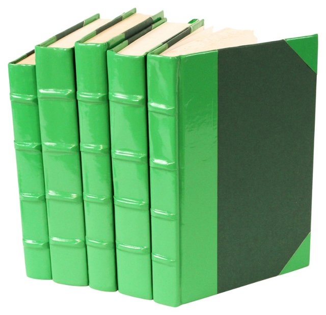 S/5 Patent-Leather Books, Green