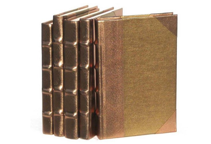 S/5 Metallic-Spine Books, Gold