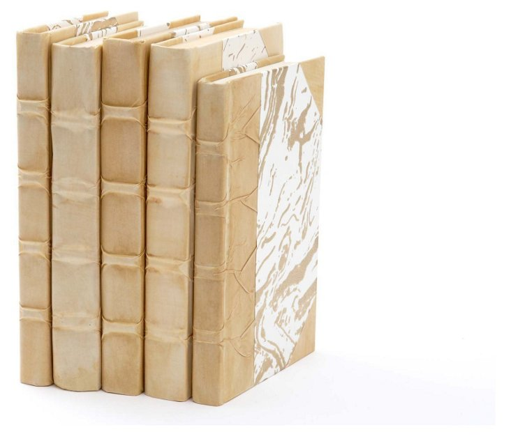 S/5 Parchment Covered Books, Beige