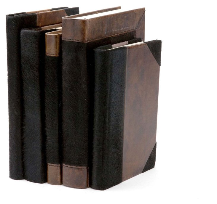 S/5 Hair-On Leather Books, Black