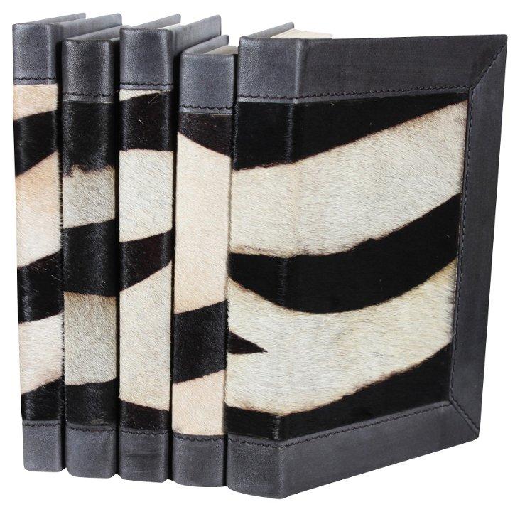 S/5 Hair-On Leather Books, Zebra