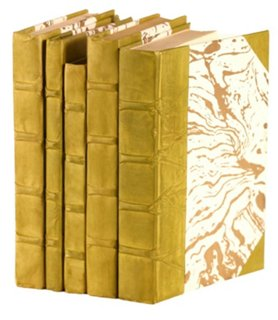 S/5 Parchment Covered Books, Green