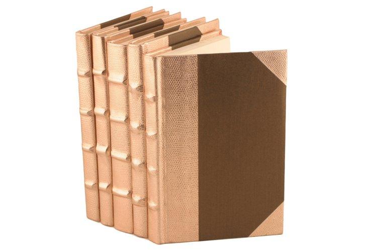 S/5 Metallic Spine Books, Rose Gold
