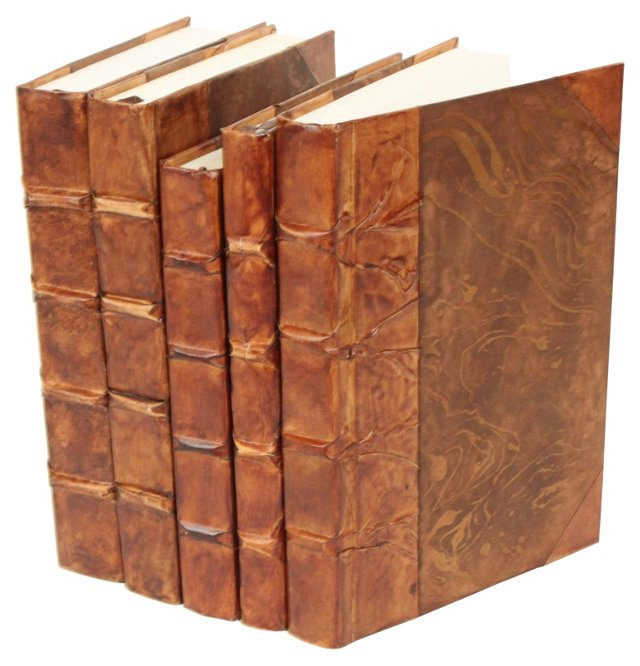 S/5 Parchment Books, Antiqued Caramel