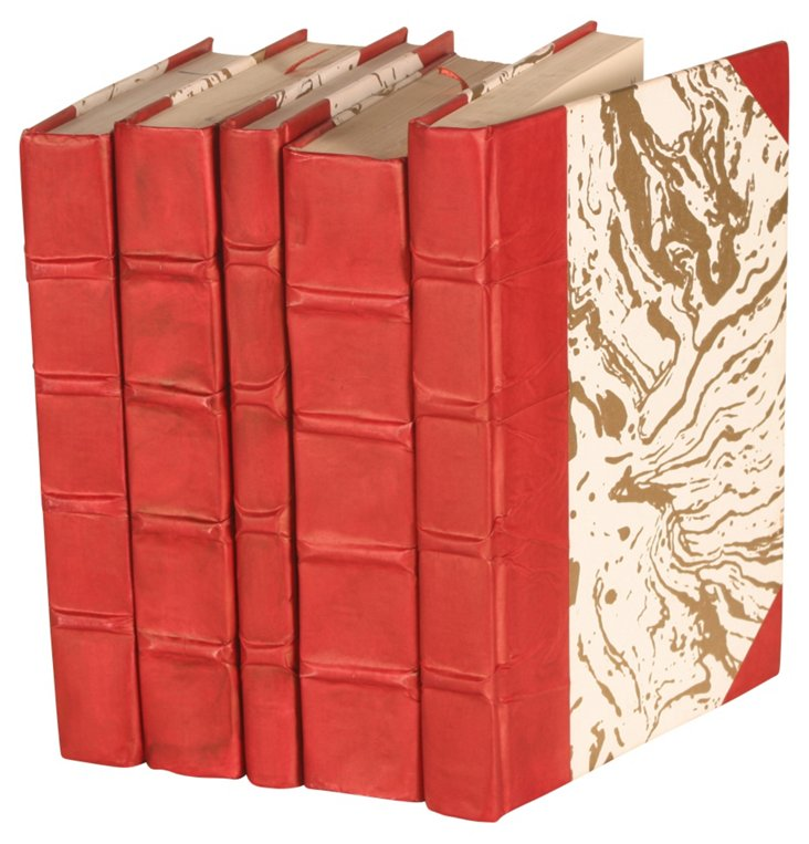S/5 Parchment Collection Books, Red