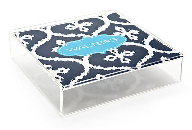 Custom Lucite Catchall, Navy Ikat