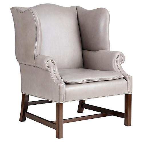 Morse Wingback Chair, Gray Leather