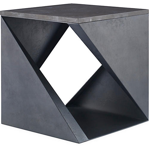 Fold Marble Side Table, Gray