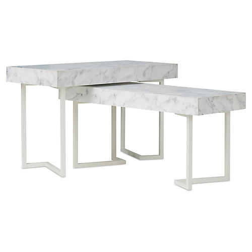 Asst. of 2 Patterson Marble Nesting Tables, White