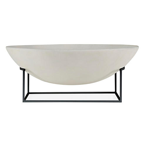 "24"" Tidal Bowl w/ Stand, White/Black"