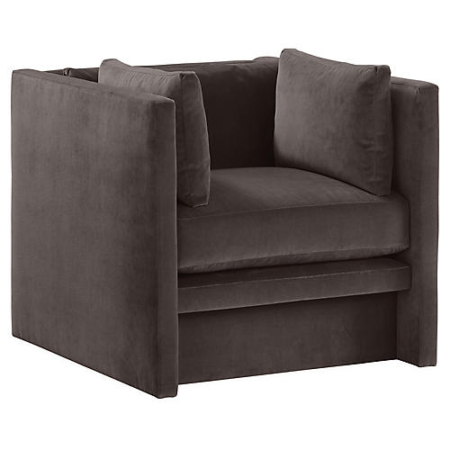 Meyer Club Chair, Gray Velvet