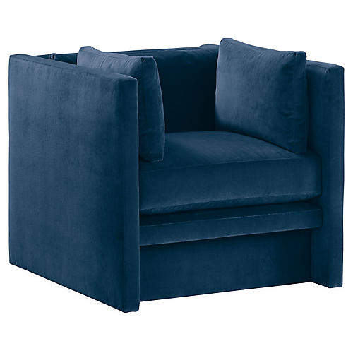 Meyer Club Chair, Blue Velvet