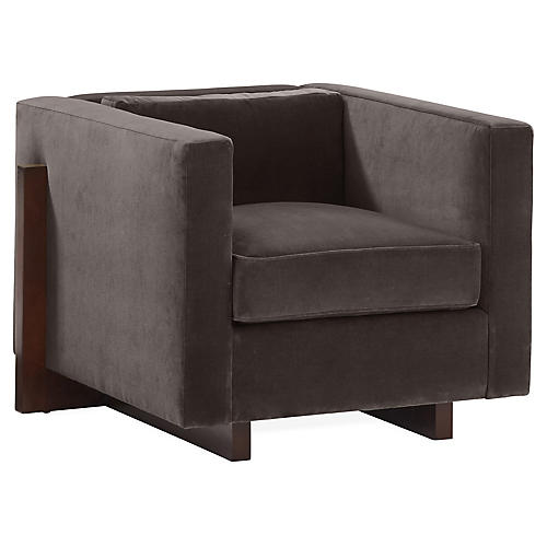 Porter Club Chair, Charcoal Velvet