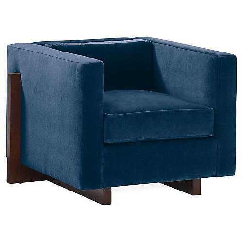Porter Club Chair, Blue Velvet