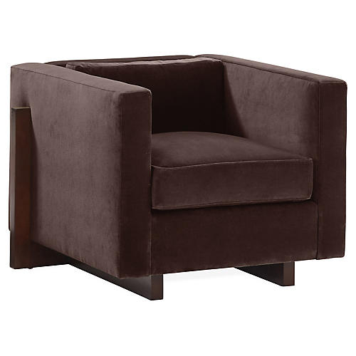 Porter Club Chair, Dark Bronze Velvet