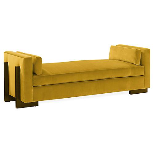 Porter Bench, Gold Velvet