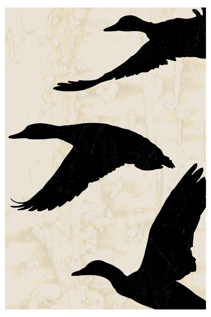 Ducks in Flight I, Black