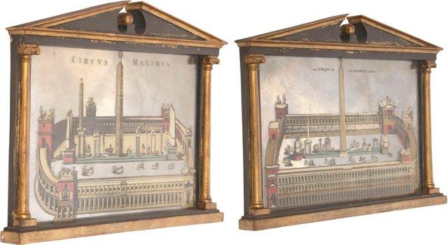 Roman Architectural Mirrors, Pair