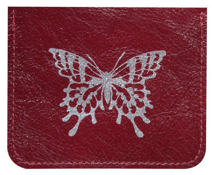 Leather Butterfly Card Case, Red
