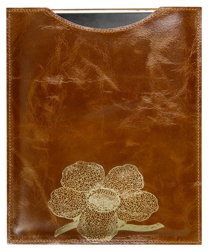 Flower iPad Sleeve, Saddle