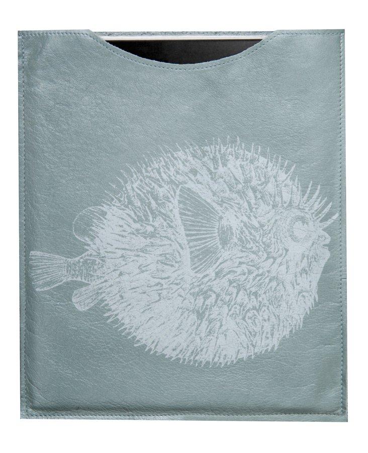 Leather Blowfish iPad Sleeve, Sky Blue