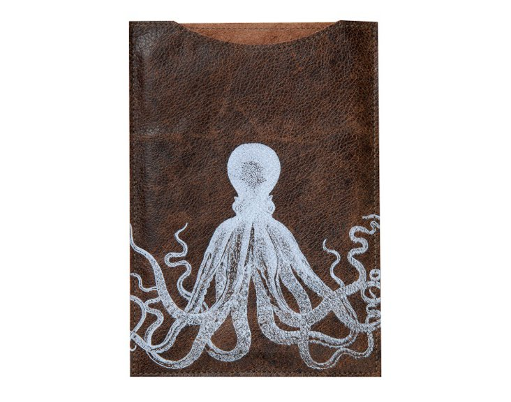 Octopus Kindle Sleeve, Brown