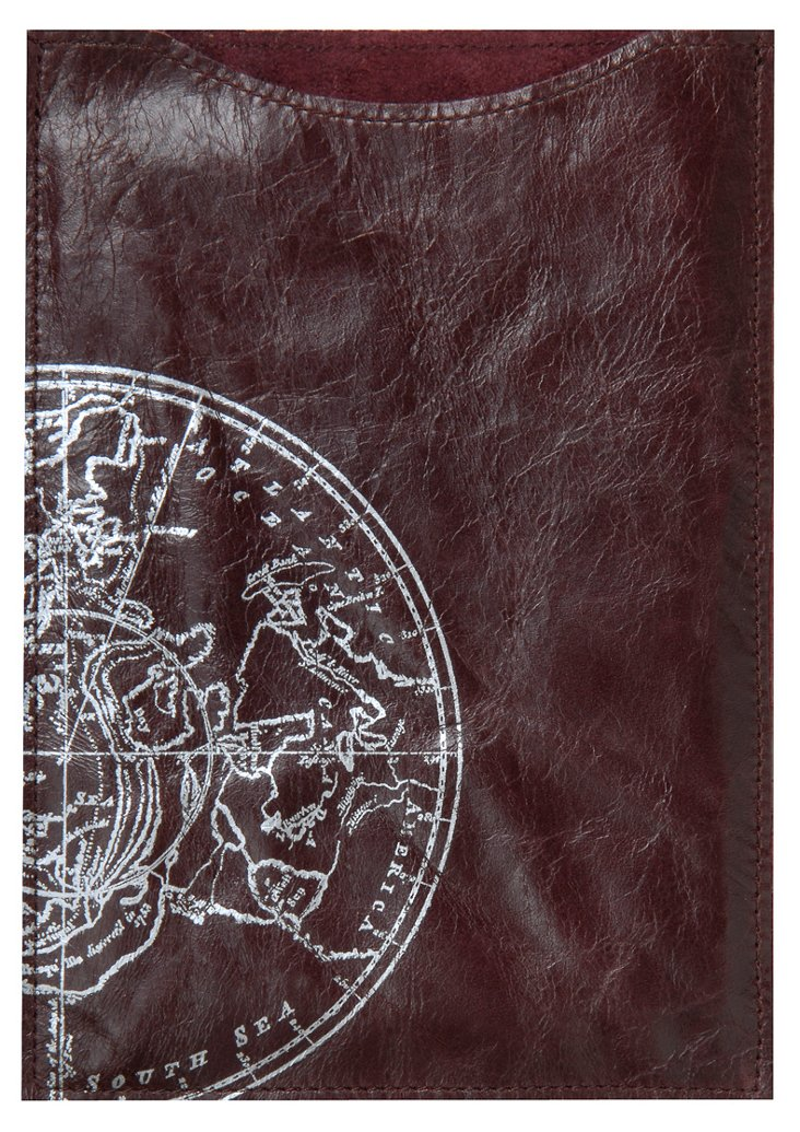Globe Kindle Sleeve, Burgundy
