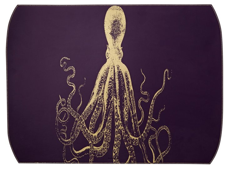 Octopus Desk Blotter, Purple