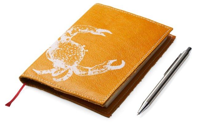 Tangerine Journal w/ White Crab