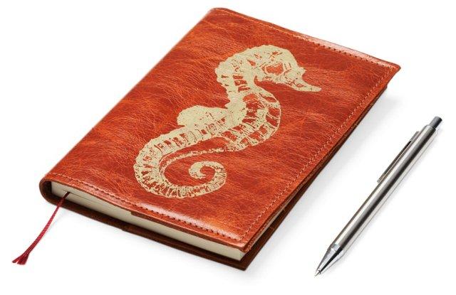 Orange Journal w/ Gold Seahorse