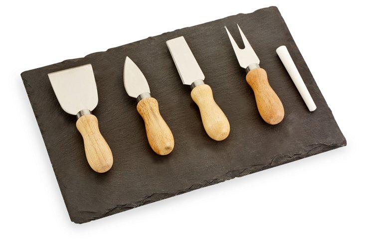 4-Pc Cheese Knife Set w/ Chalkboard Slab