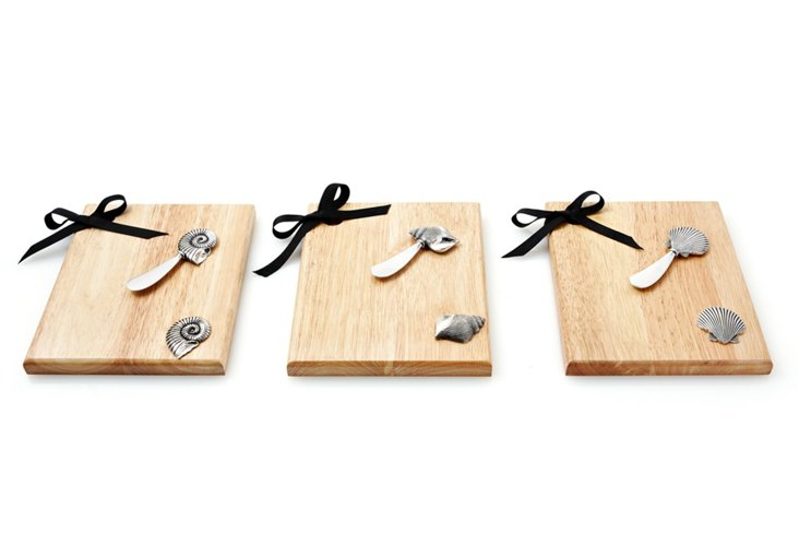 S/3 Assorted Cheese Boards & Knives