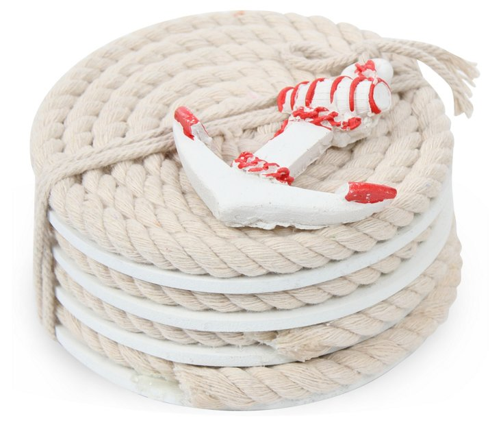 S/4 Nautical Rope Coasters, Red