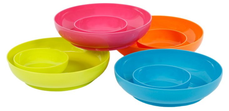 S/4 Assorted Plastic Chip & Dip Bowls