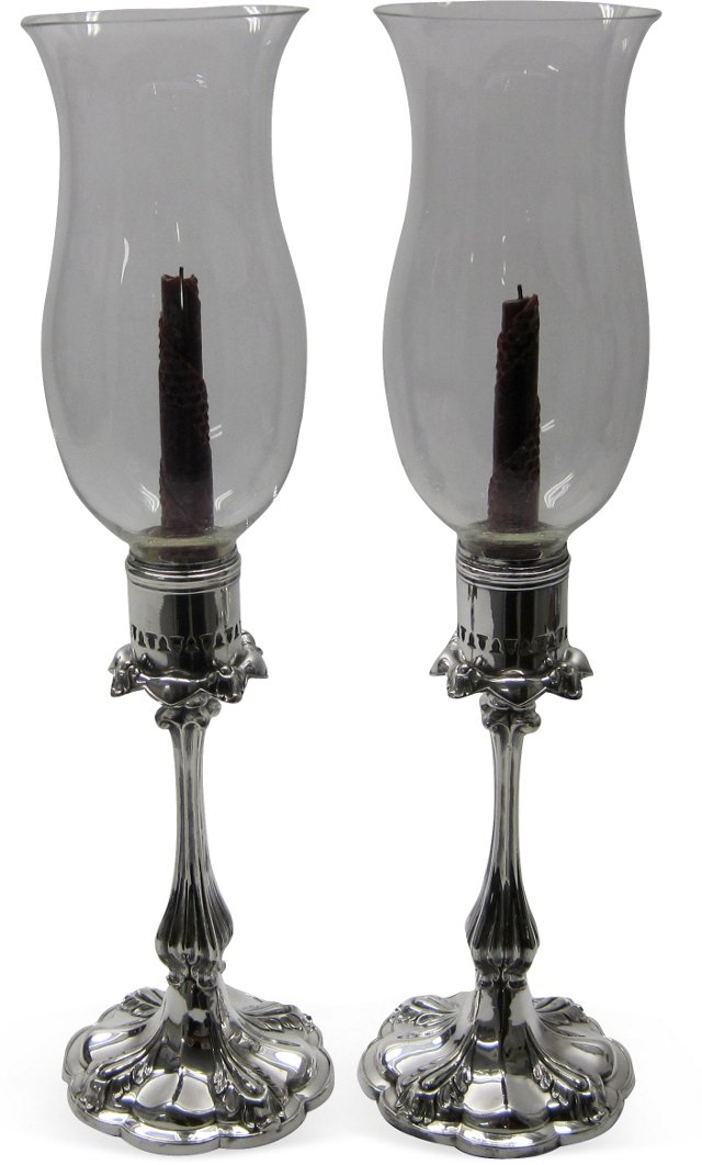 19th-C. Hurricane Candlesticks, Pair