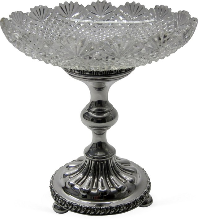 Silverplate & Crystal Center Bowl