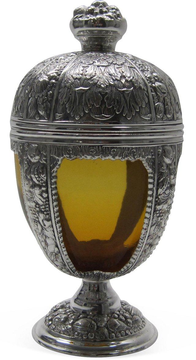 Silverplate & Glass Covered Jar