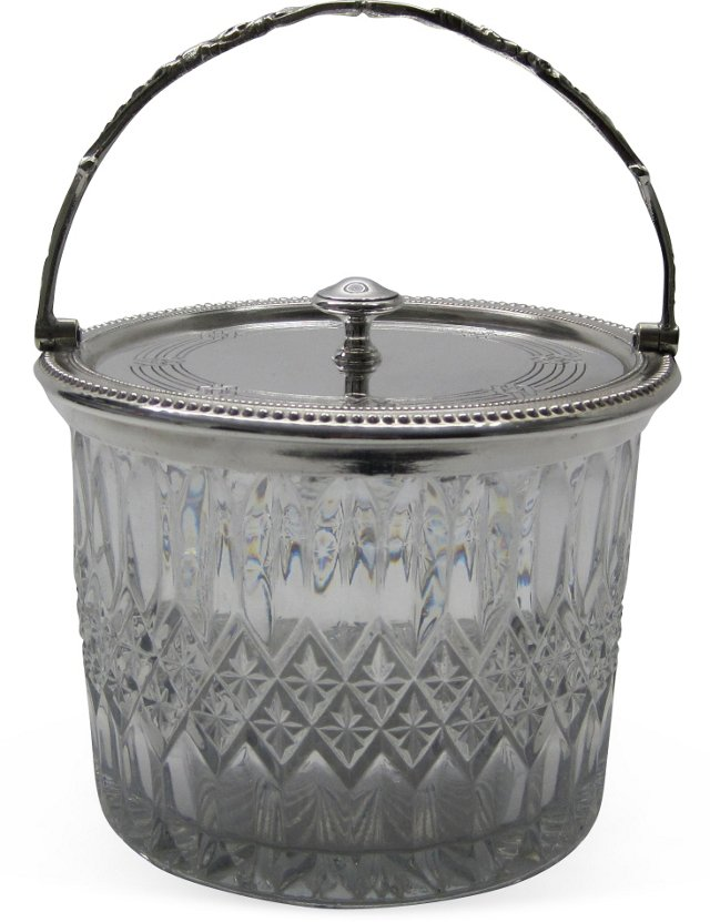 English Silverplate & Glass Biscuit Jar