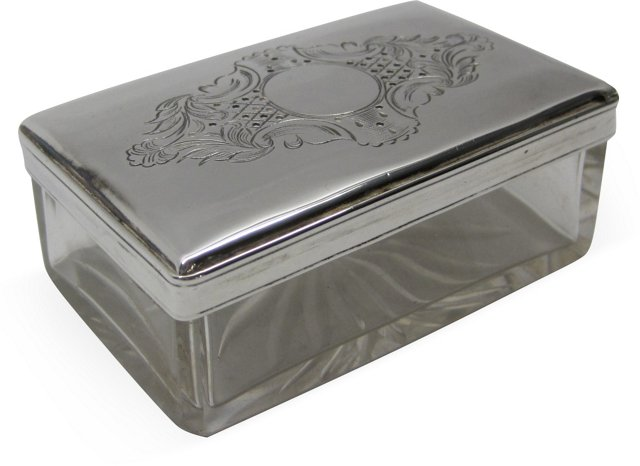 Silverplate & Glass Engraved Box