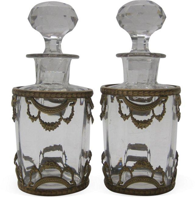 Antique French Dresser Bottles, Pair
