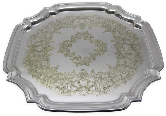 Engraved Chippendale Silverplate Tray