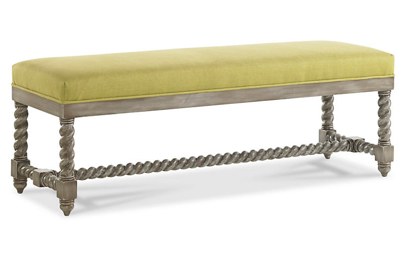 Lally Spindle Bench, Lime Linen