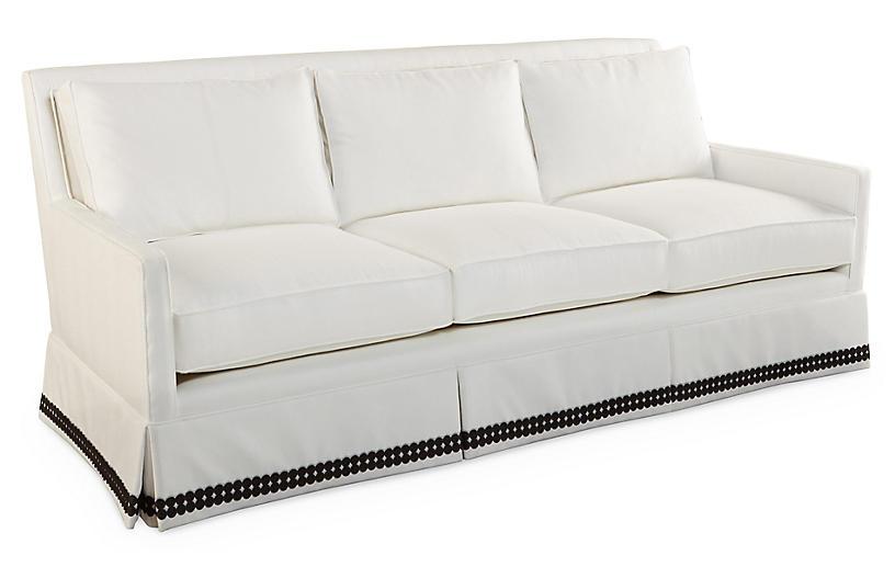 Lilla Skirted Sofa, Cloud White - Dana Gibson - Brands | One Kings Lane