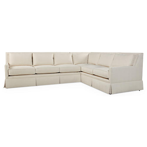 Lilla Skirted Sectional, Pearl White
