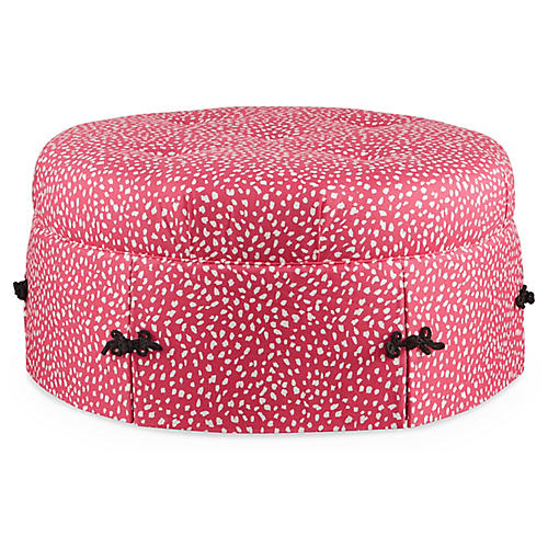 Richmond Cocktail Ottoman, Pink/White