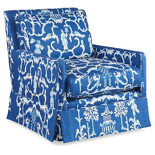 Lilla Swivel Club Chair, Blue/White